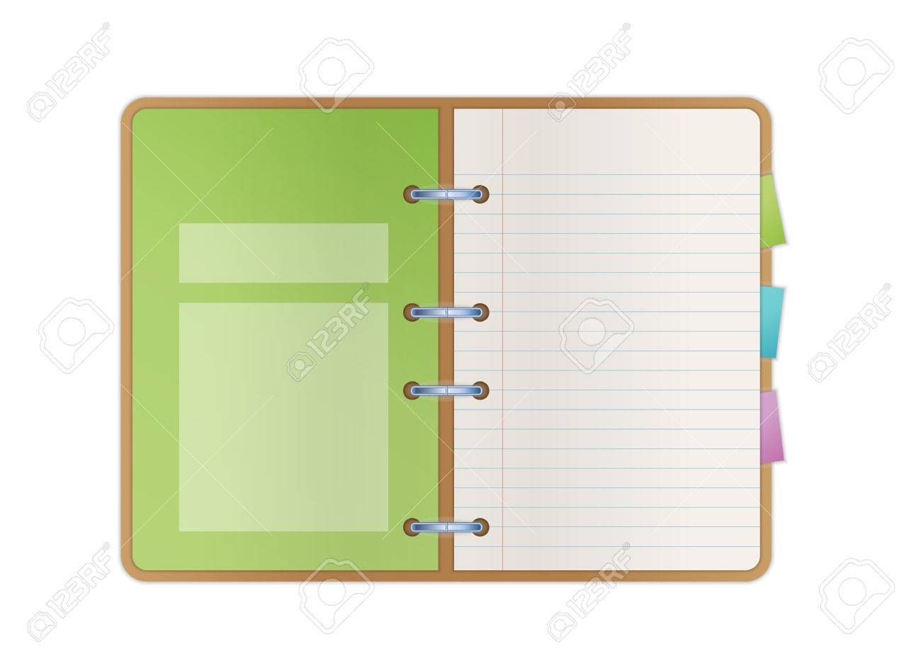 vector opened notebook with blank paper pages color bookmarks and one green main list with fields for some text