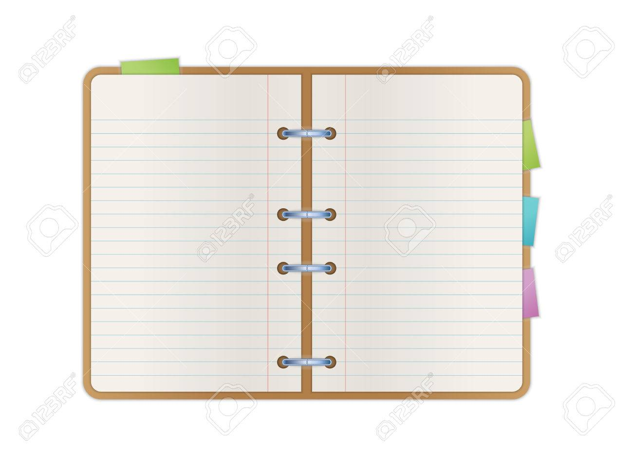 Blank pages to color on - Vector Opened Notebook With Blank Paper Pages And Color Bookmarks