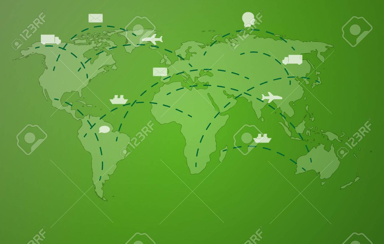 world map with symbols of plane, car, ship, head and envelope on green background Stock Vector - 25036963