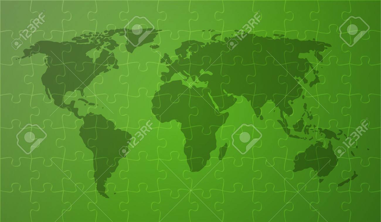 World map with continents on green background covered by puzzle vector world map with continents on green background covered by puzzle pieces gumiabroncs Images