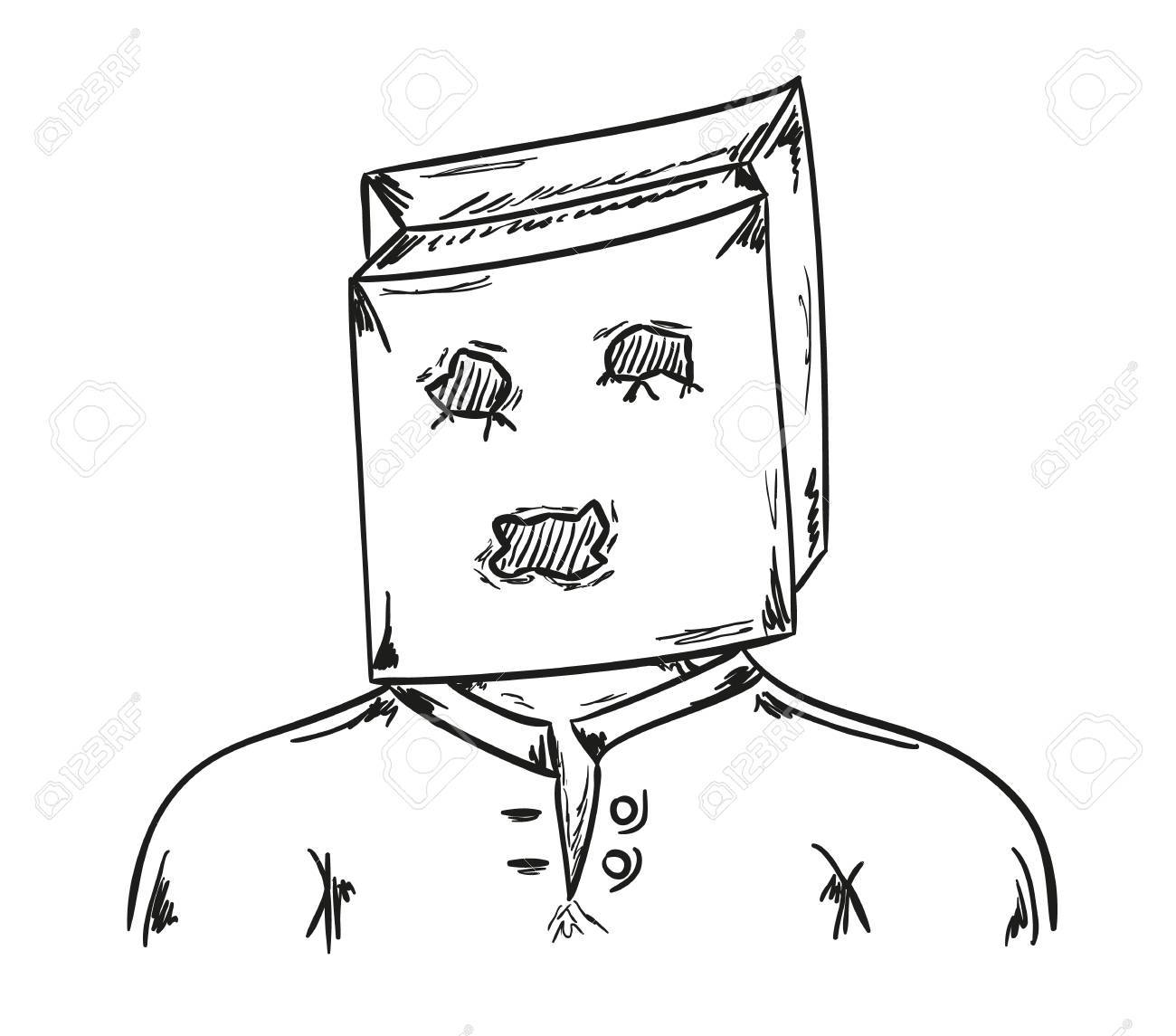 Paper bag sketch - Vector Sketch Of The Man With Paper Bag On His Head