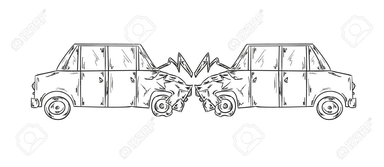 Sketch Of The Accident Of Two Cars On White Background Royalty Free ...