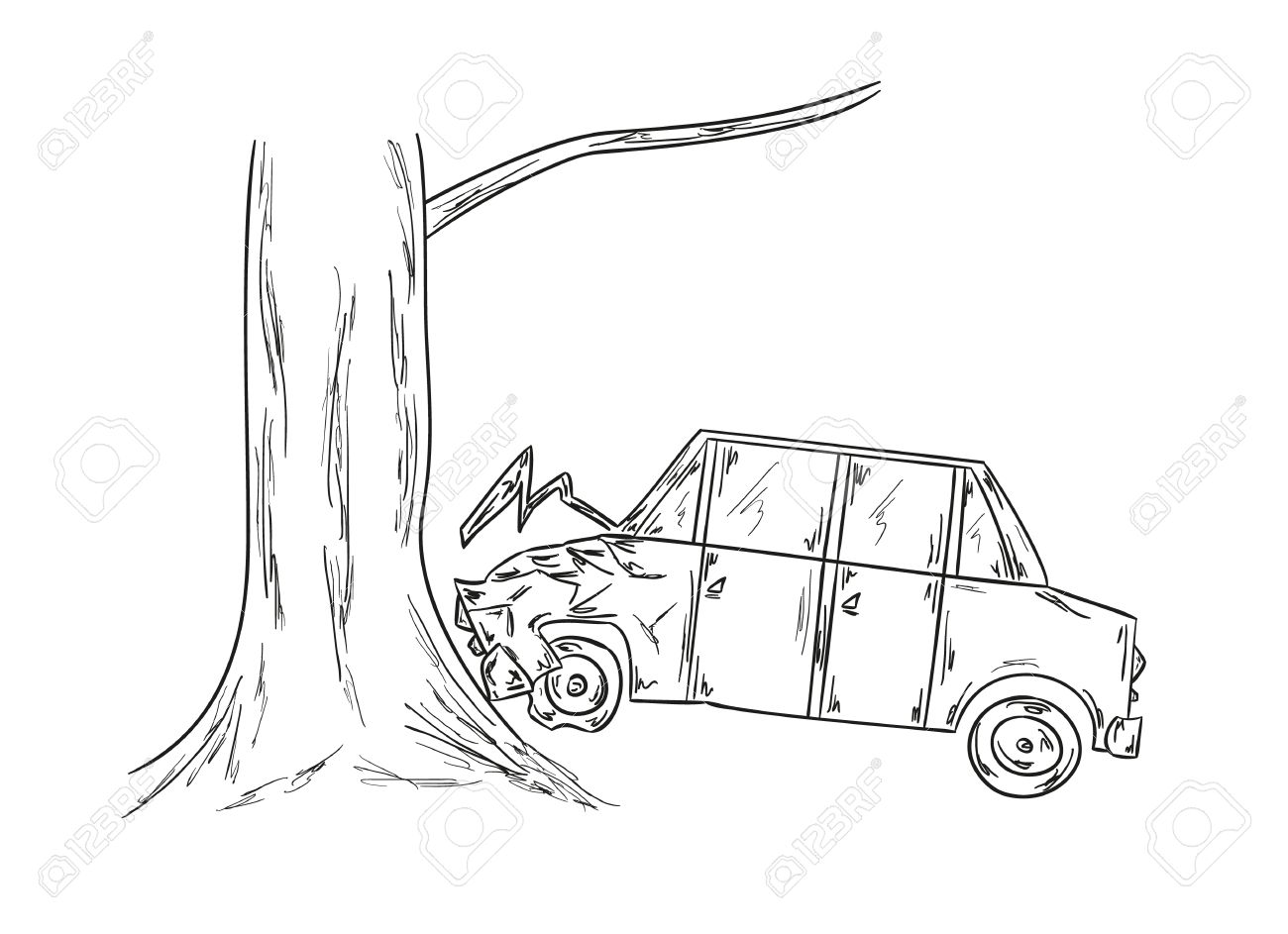Sketch Of The Car And Tree, Accident Royalty Free Cliparts, Vectors ...