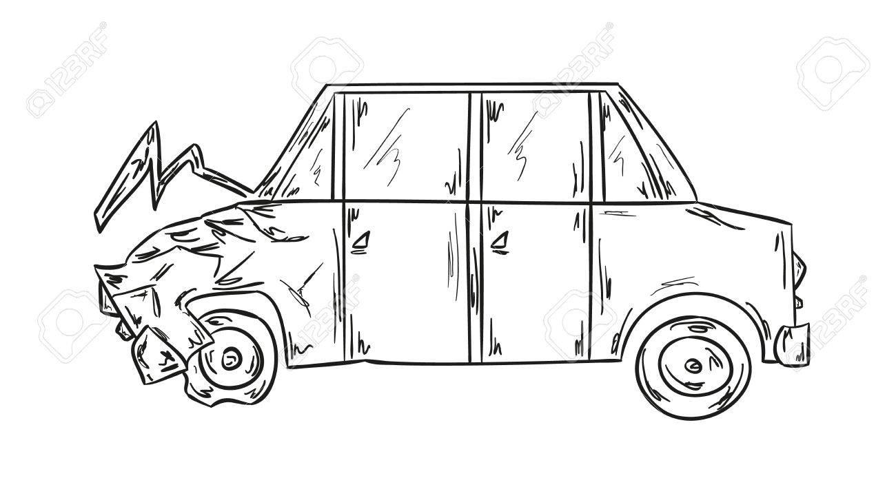 Skizze Der Autounfall Auf Weißem Hintergrund Lizenzfrei Nutzbare ...