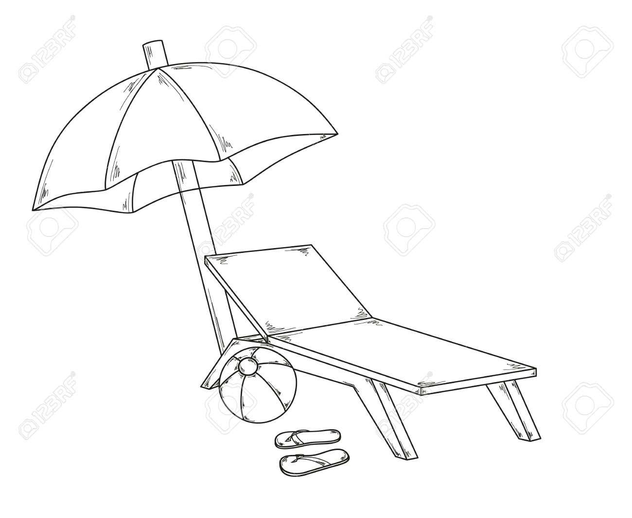 Beach chair and umbrella sketch - Parasol Flops Ball And Chair Sketch Stock Vector 29385877