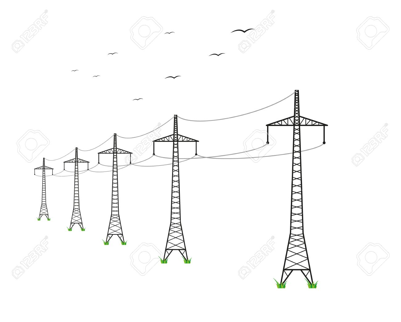 high voltage power lines and birds on white background Stock Vector - 29143496