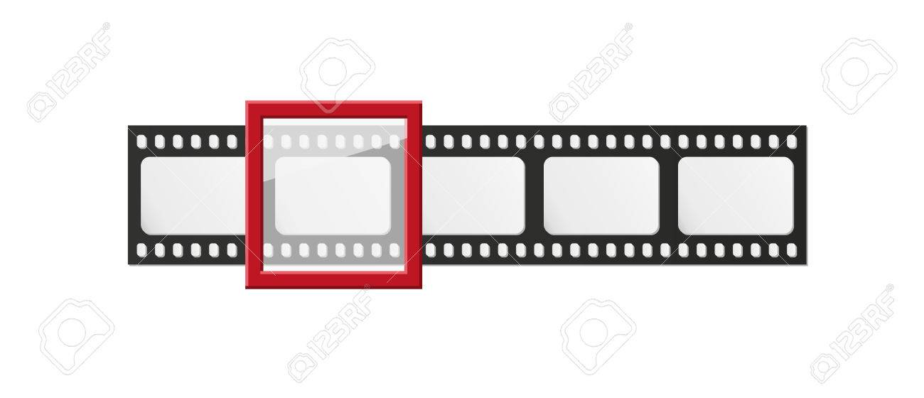 Filmstrip With Five Frames And One Selected Frame On White ...