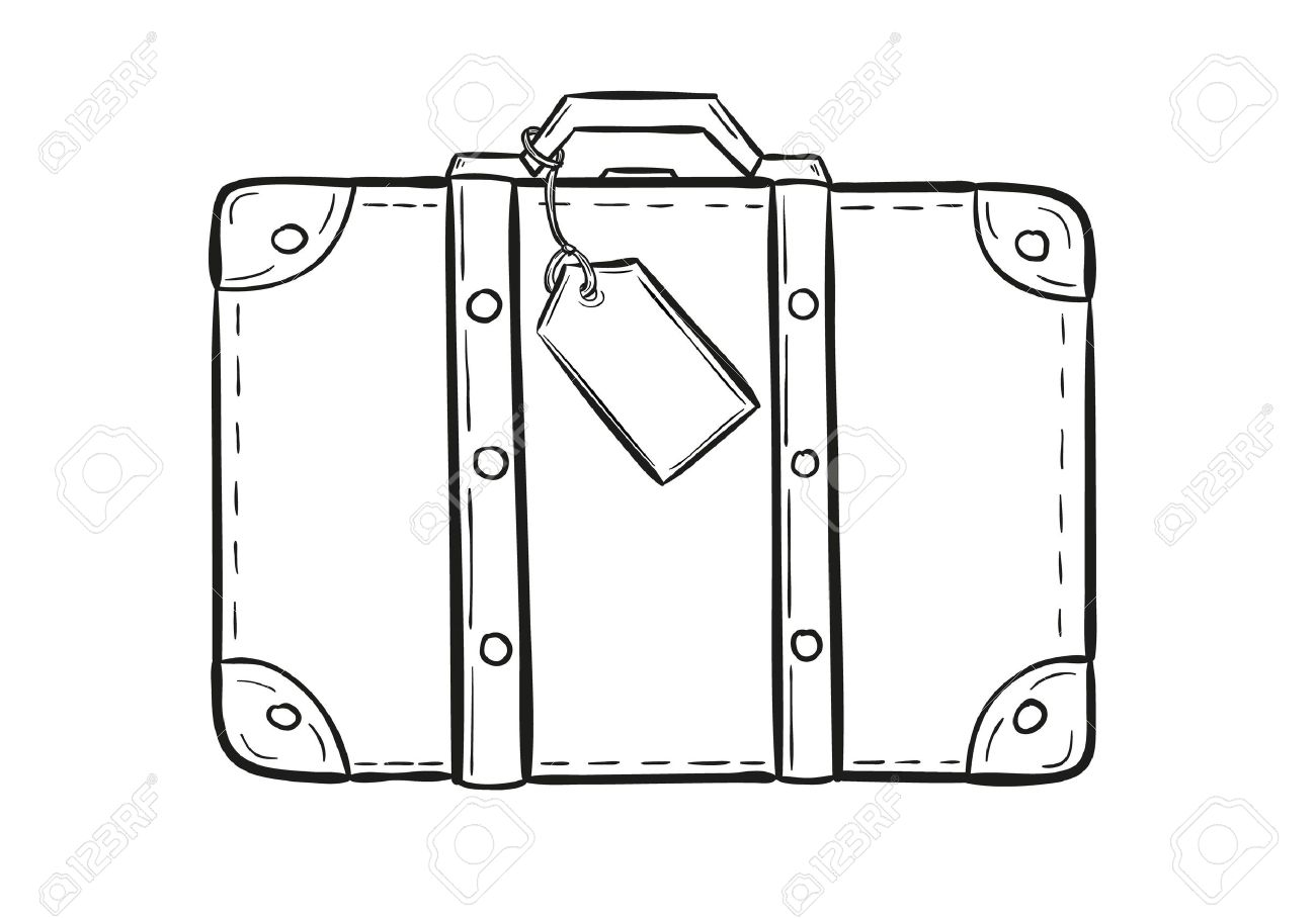 sketch of the suitcase with tag on white background, isolated - 33657518