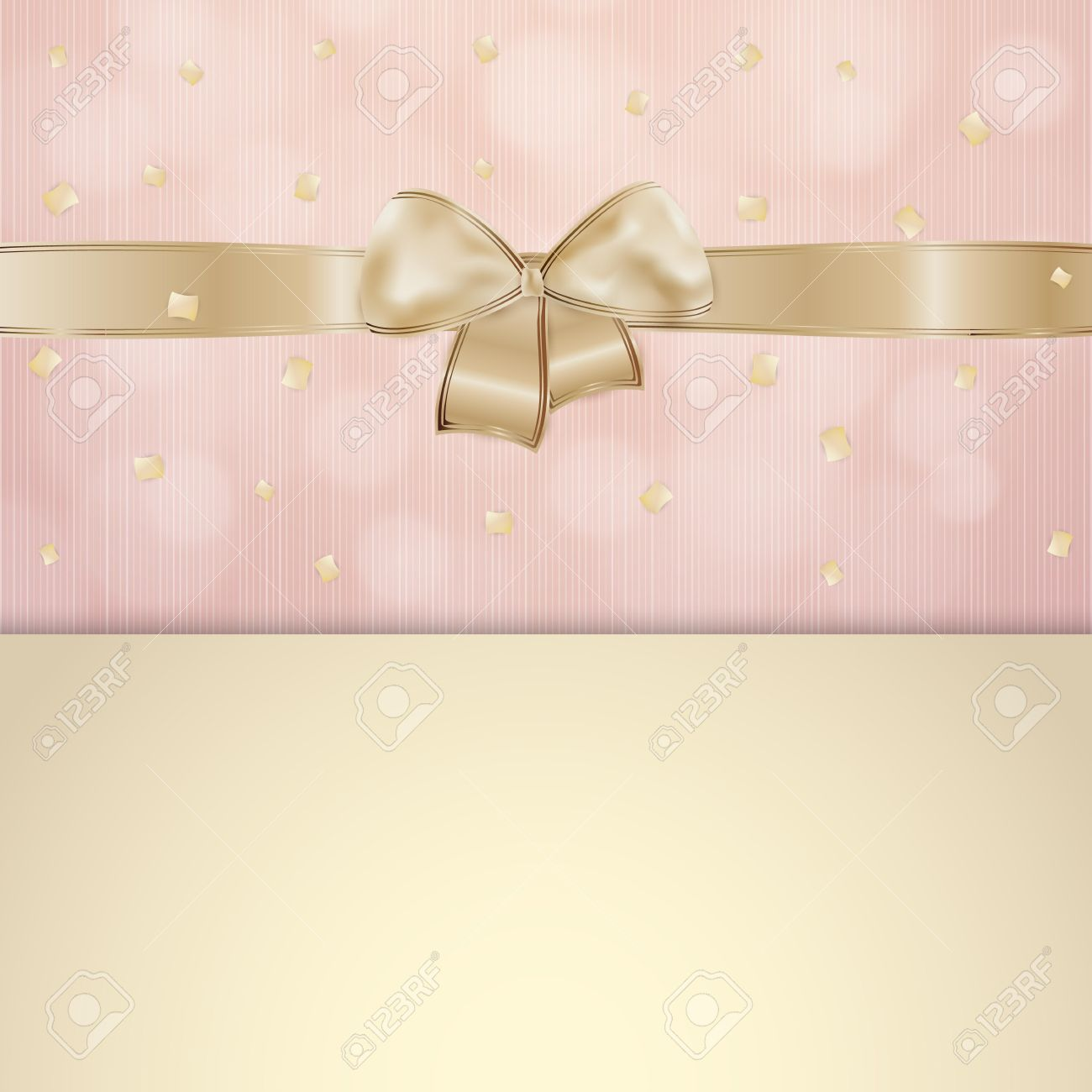 Invitation card with gold ribbon and bow with pink and beige invitation card with gold ribbon and bow with pink and beige background with falling confetti stock stopboris Choice Image