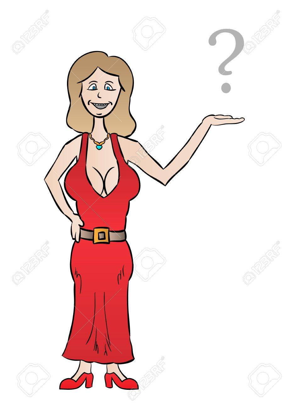 nice dressed woman with big tits and question mark, cartoon