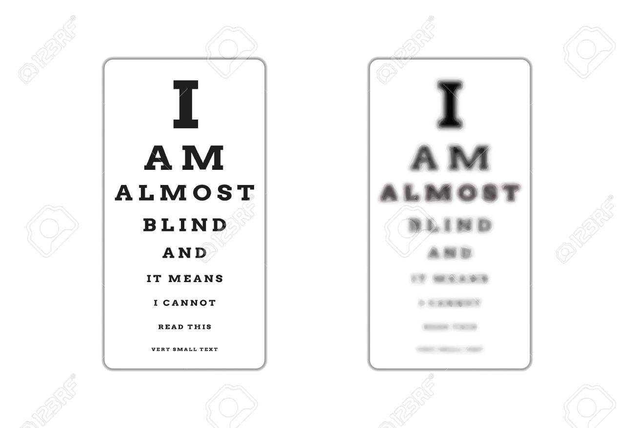 Sharp And Unsharp Snellen Chart Almost Blind As A Symbol Of