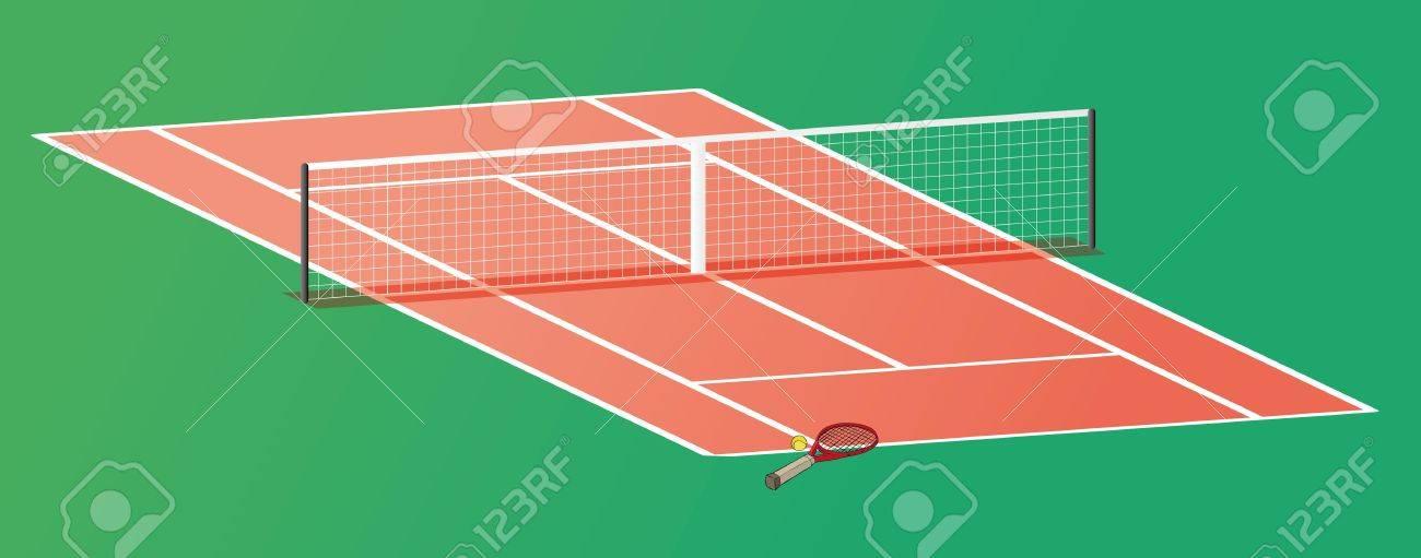 テニス ラケットとネットとテニスコートでボールのイラスト素材ベクタ