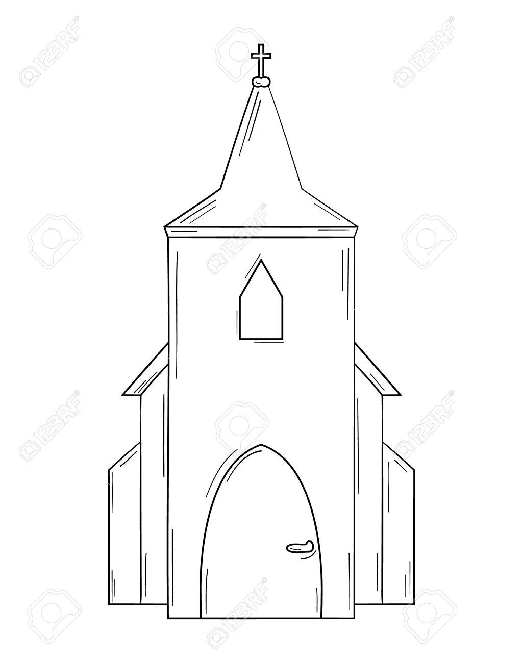 Skizze Der Kirche Auf Weißem Hintergrund, Isoliert Lizenzfrei ...