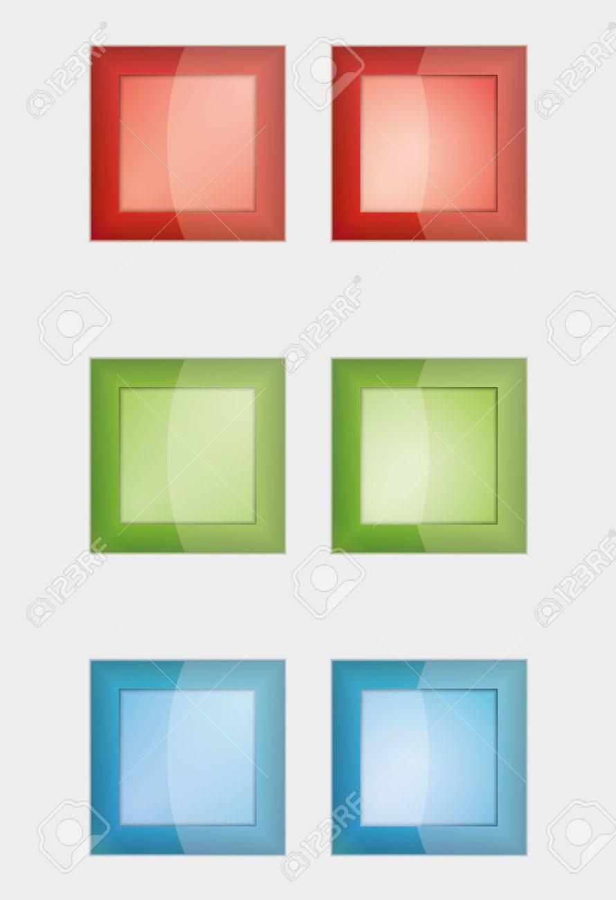 6 正方形のバッジまたは赤、緑、青の色でボタン、左右のボタンの違いは ...