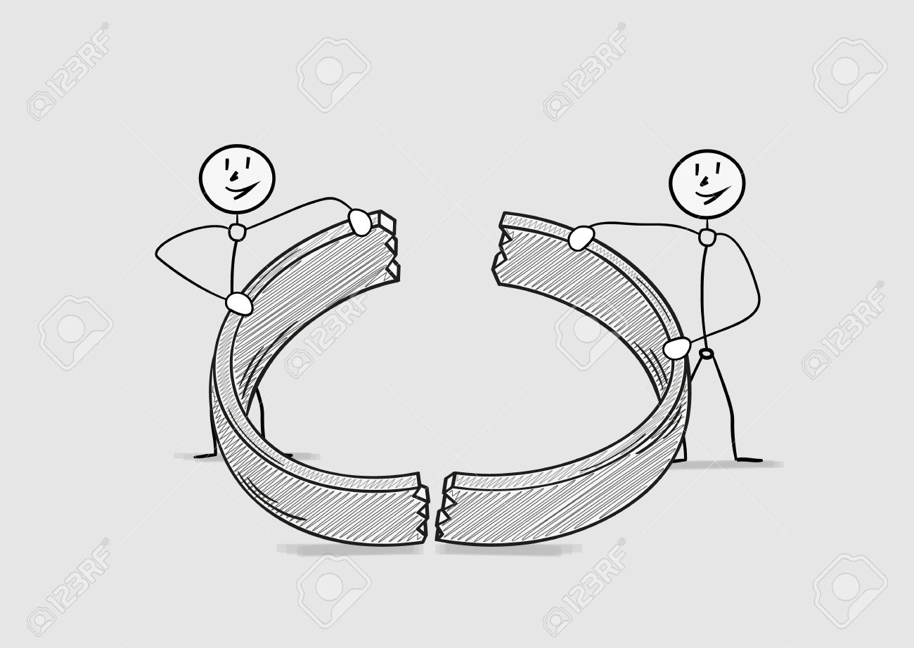 Broken Ring As A Symbol For End Of Love And Divorce Of Two People