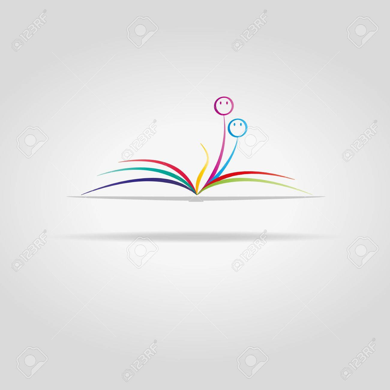 Abstract Open Book With Color Sheets And Faces Royalty Free Cliparts