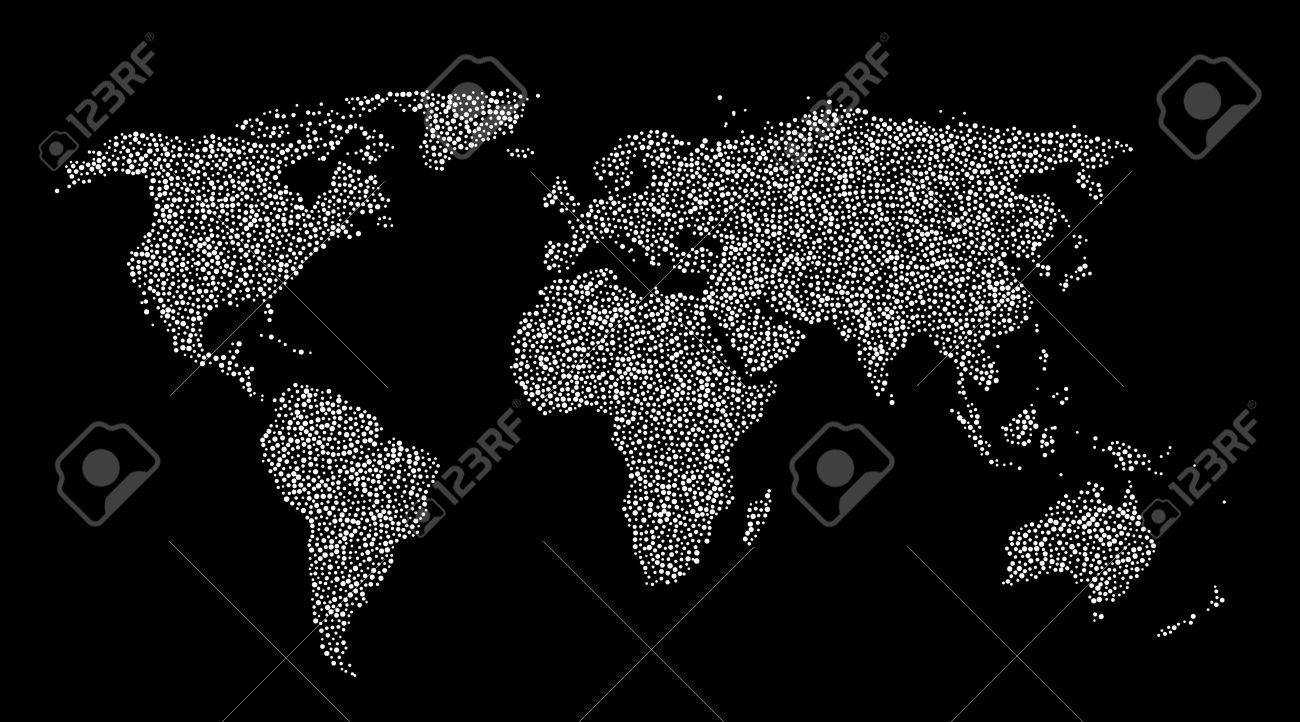 Dotted world map created from white dots of different size on dotted world map created from white dots of different size on black background stock vector gumiabroncs Images