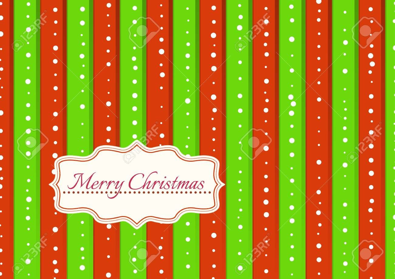 Christmas Illustration With Green And Red Stripes Covered By ...