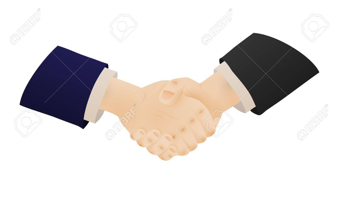 Two businessmen shaking hands as a symbol of their agreement two businessmen shaking hands as a symbol of their agreement and a corporate contract shaking biocorpaavc Gallery