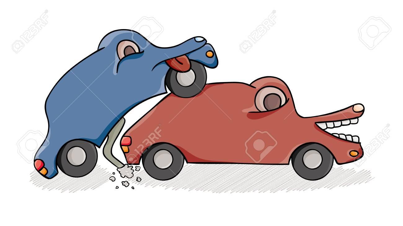 Accidente De Dos Autos En La Calle Ilustracion De Dibujos Animados