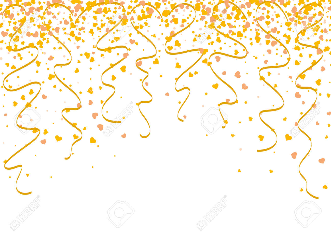 Falling gold confetti with heart shape and twisted ribbons as a symbol of celebration and anniversary events. Background wallpaper for christmas or celebration events. - 168891238
