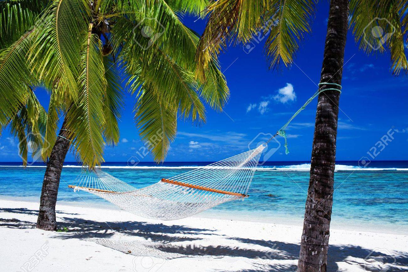 Empty hammock between palm trees on tropical beach Stock Photo - 10472829