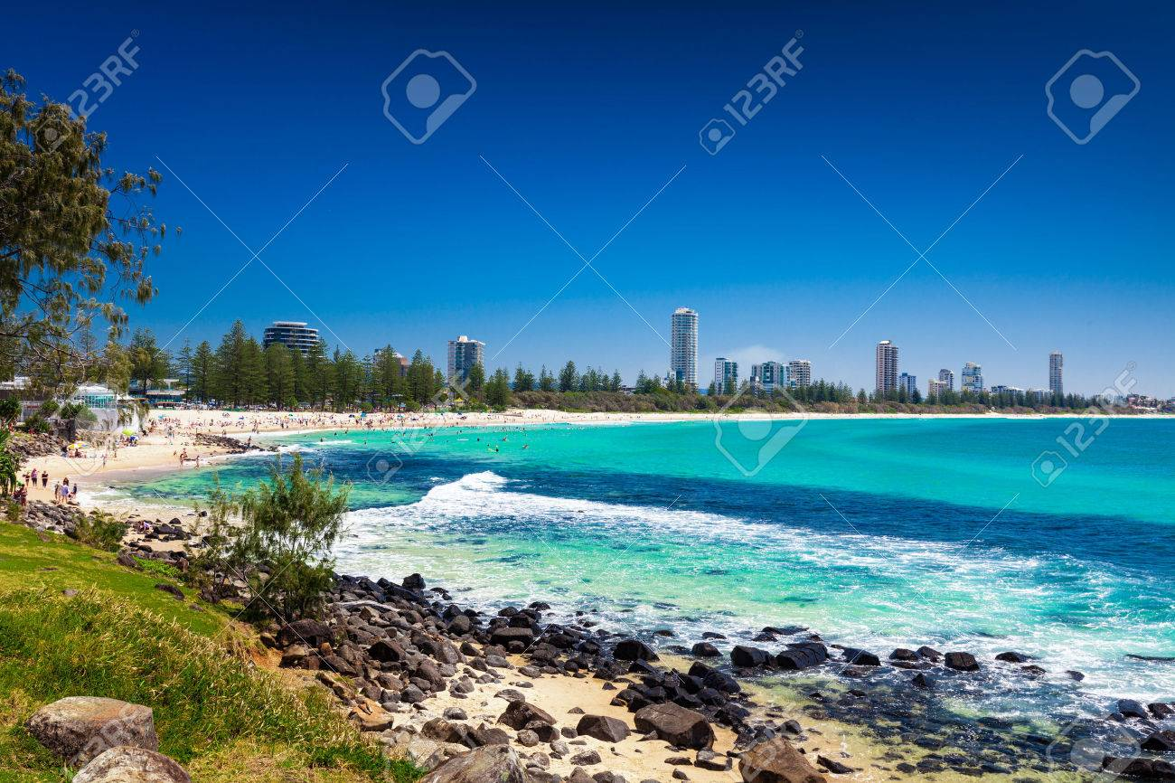 Gold Coast skyline and surfing beach visible from Burleigh Heads, Queensland - 61781470