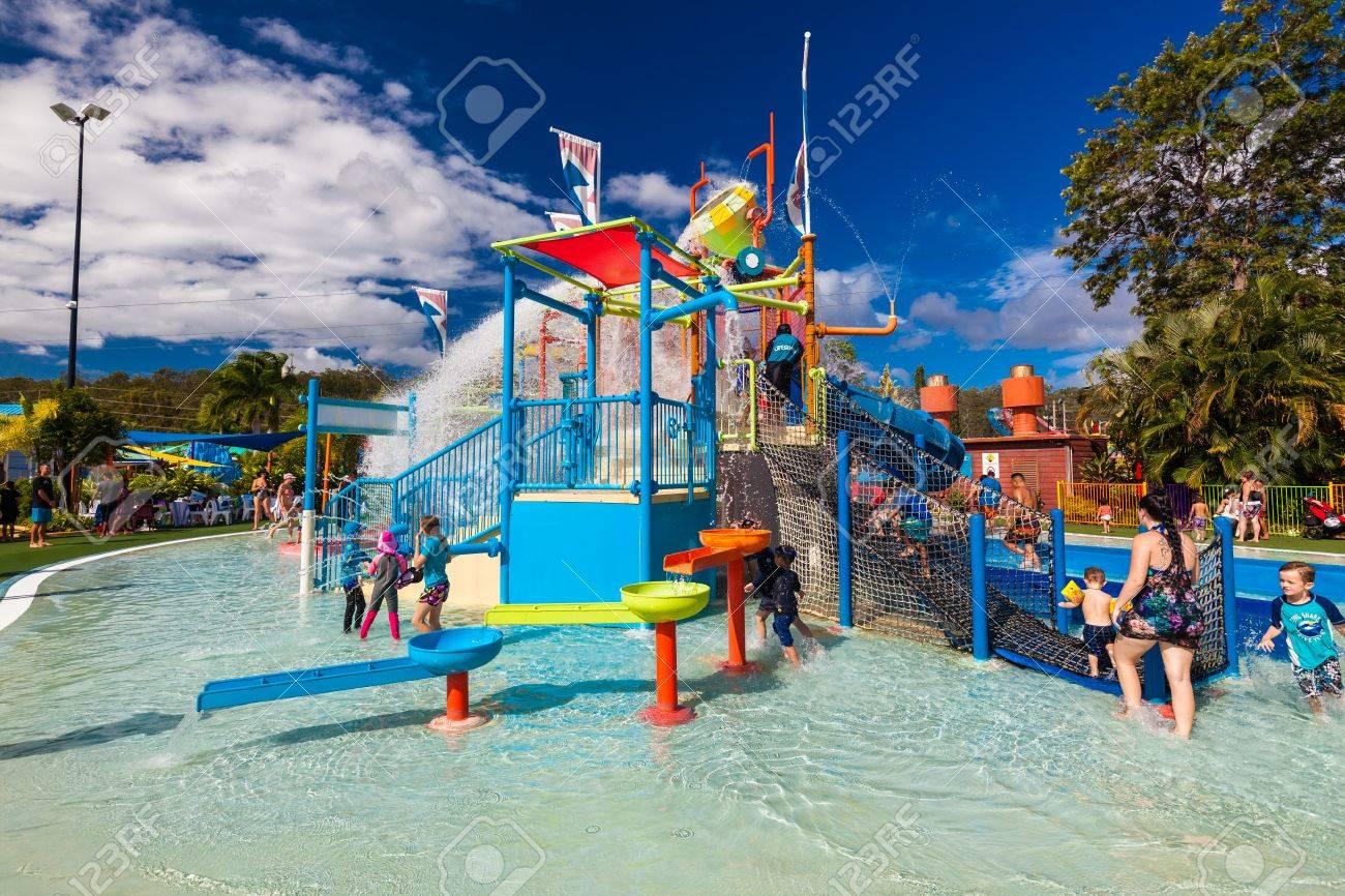 GOLD COAST, AUS - MAR 20 2016: Junior section of Wet'n'Wild Gold Coast water park, Queensland, Australia - 61438303