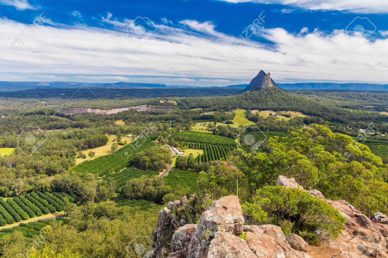 View from the summit of Mount Ngungun, Glass House Mountains, Sunshine Coast, Queensland, Australia - 88759940