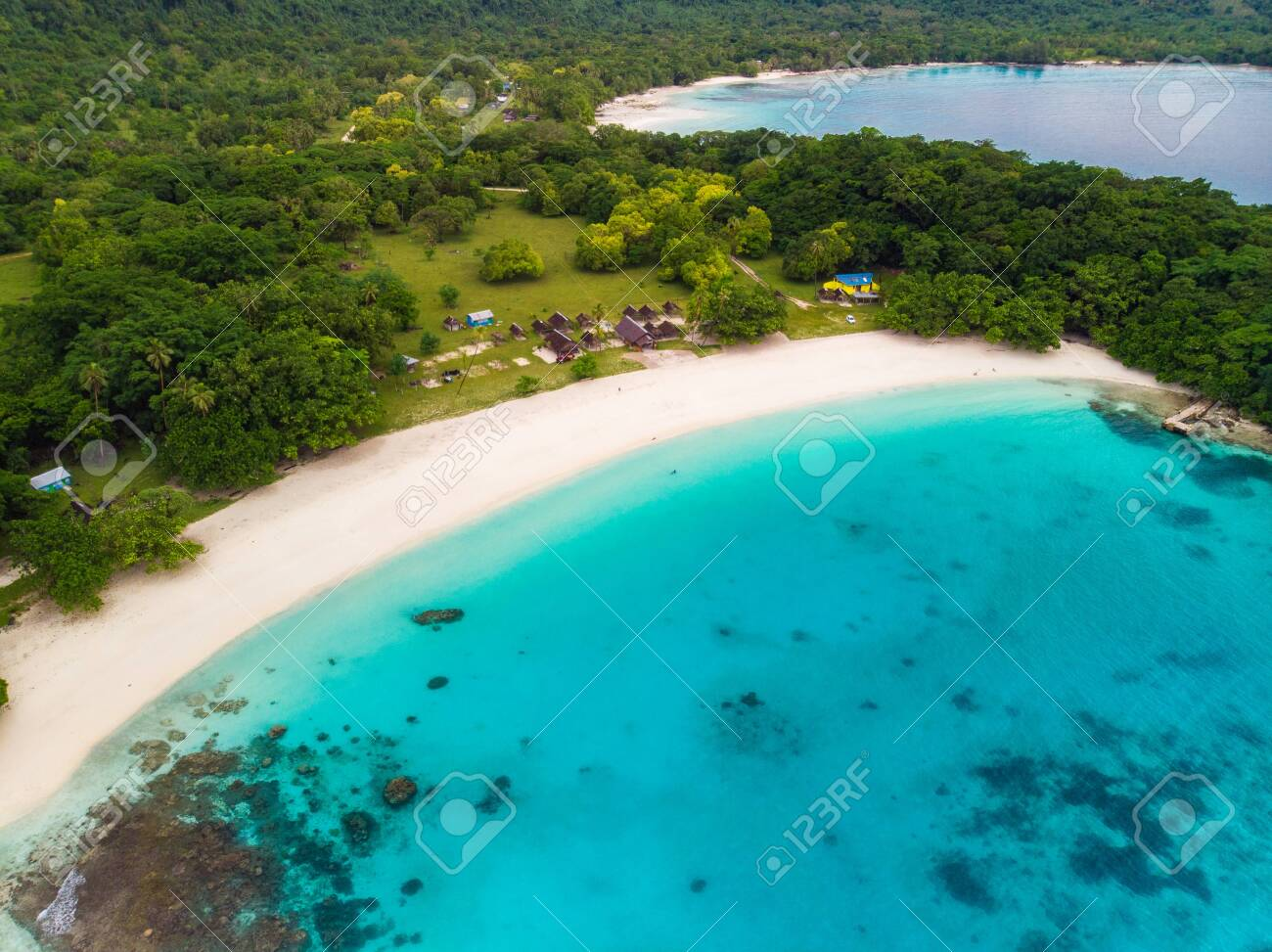 Drone View Champagne Beach Vanuatu Espiritu Santo Island Near Stock Photo Picture And Royalty Free Image Image 125675375