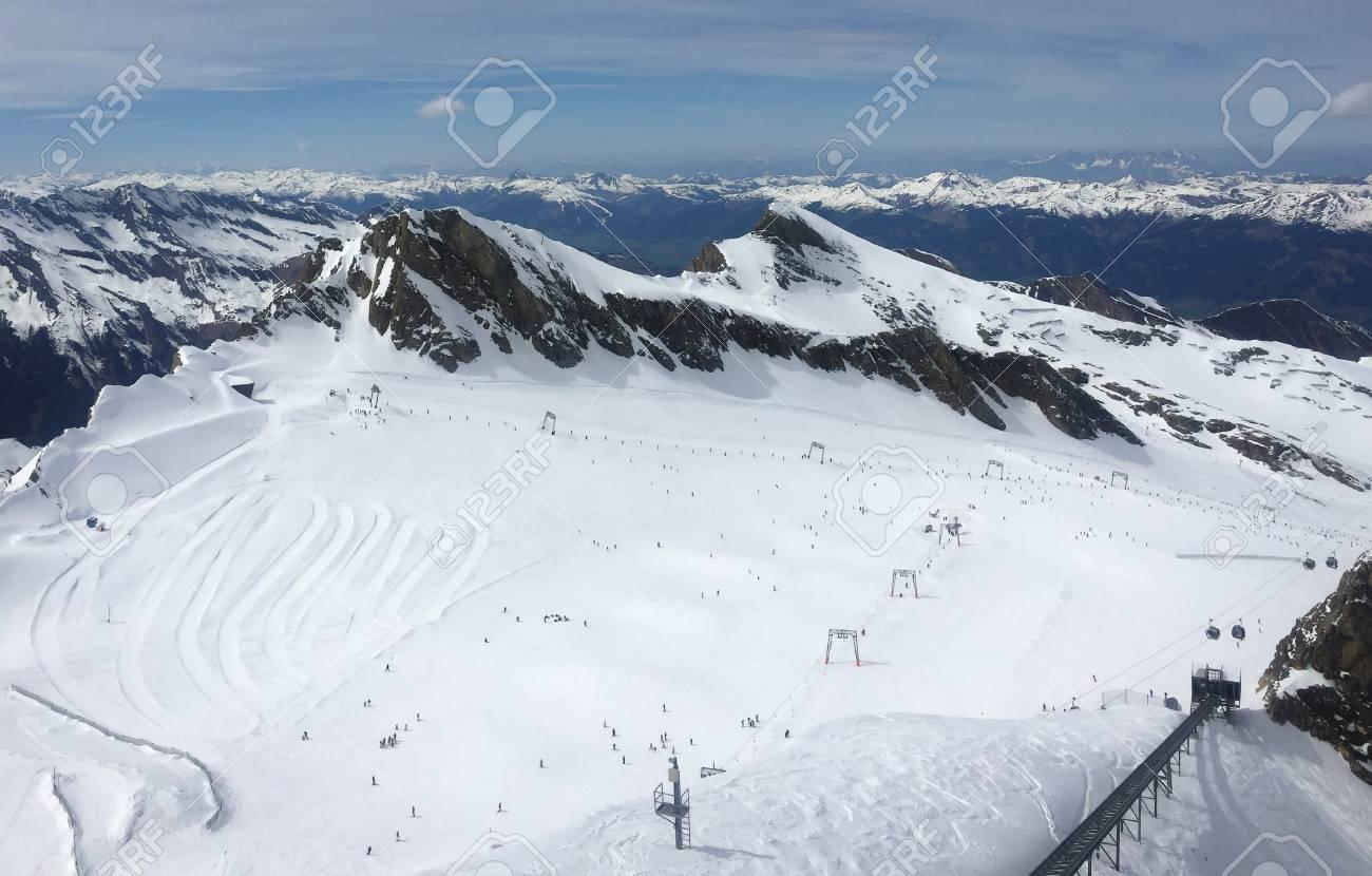 overview of austrian ski resort in the alps of austria stock photo