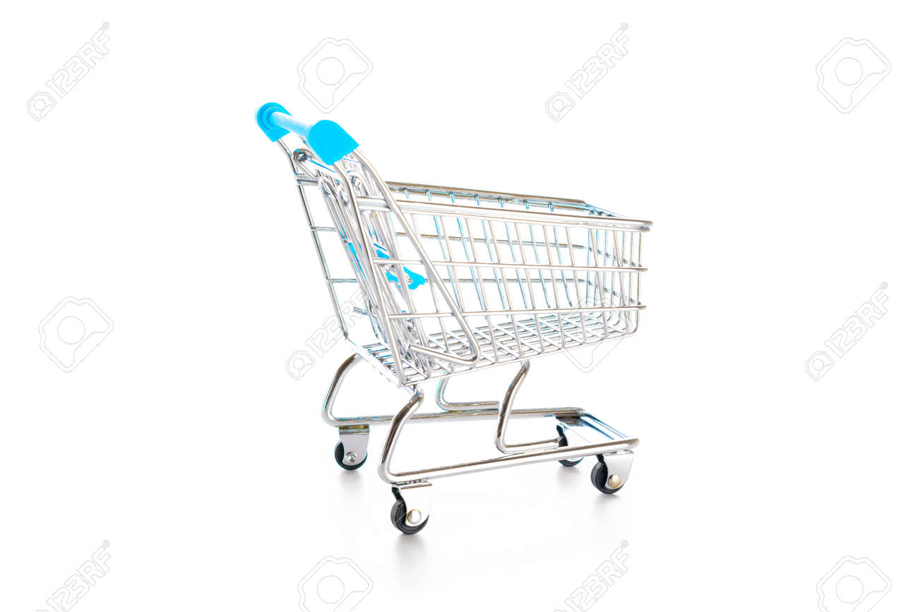 Products cart. Food shopping basket for retail market. Empty trolley cart for supermarket isolated on white background. Creative idea for shopping online, summer sale, supermarket - 155703566