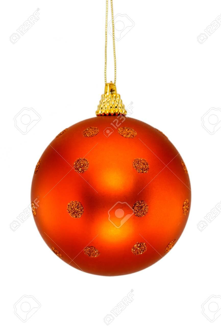 Boule De Noel Orange Boule De Noël Orange Isolé Sur Fond Blanc. Concept De Noël Et Du