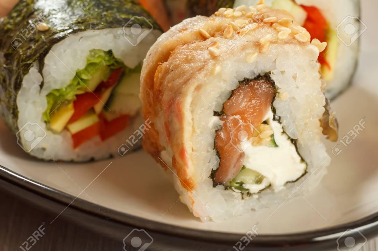 Close Up Uramaki With Conger Sushi Rolls With Nori Rice Eel
