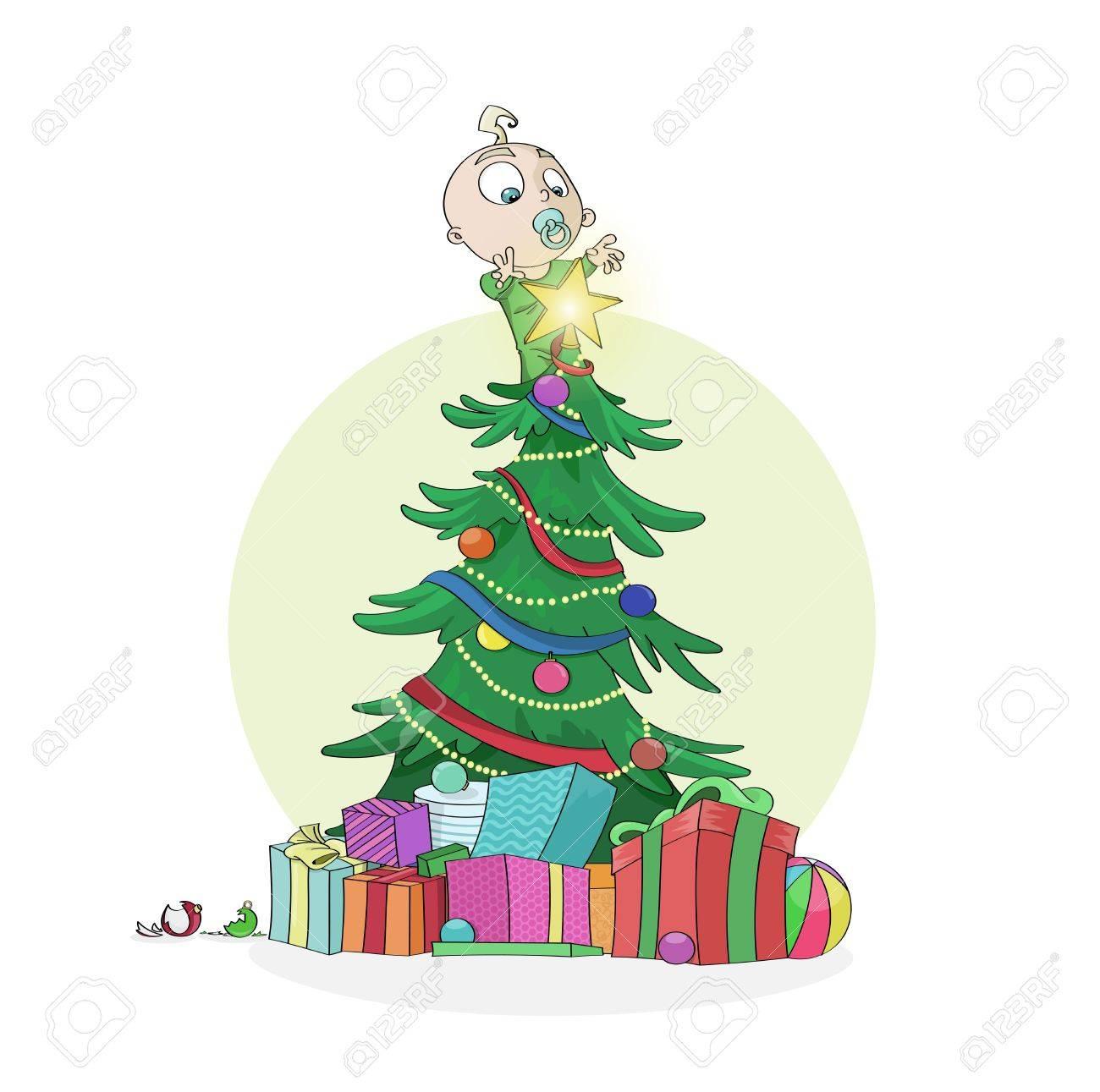 Stella Albero Di Natale Luminosa.Po Curioso Bambino E Salito Su Un Albero Di Natale Decorato Di Raggiungere La Stella Luminosa Sulla Parte Superiore Buon Natale E Felice Anno Nuovo