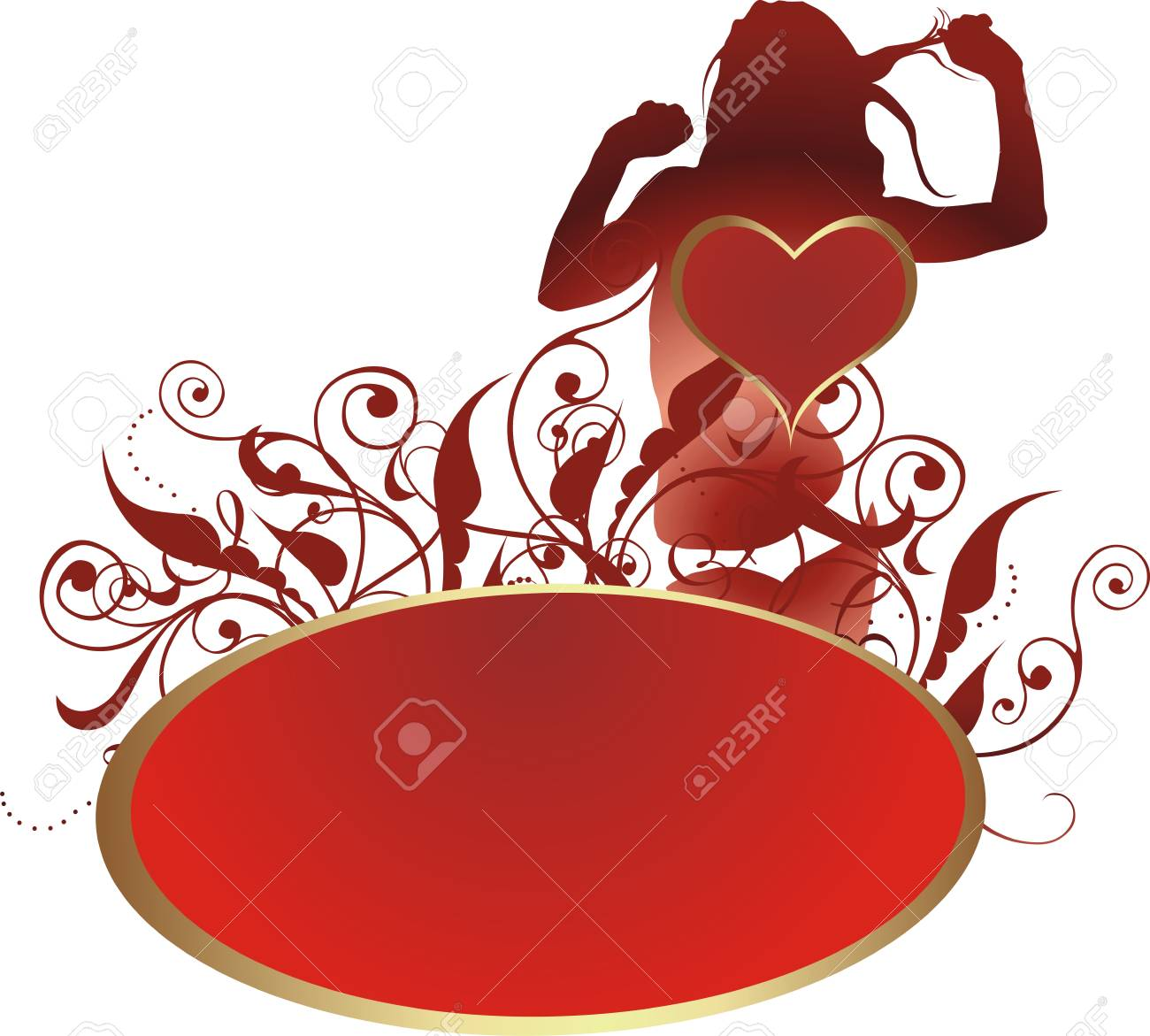 Heart against a silhouette of the young girl and a vegetative ornament Stock Vector - 4022194
