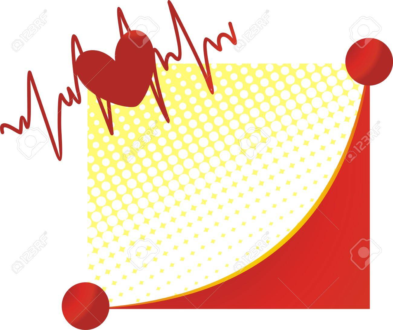 Heart against the cardiogramme and the stylised smile - 4022192