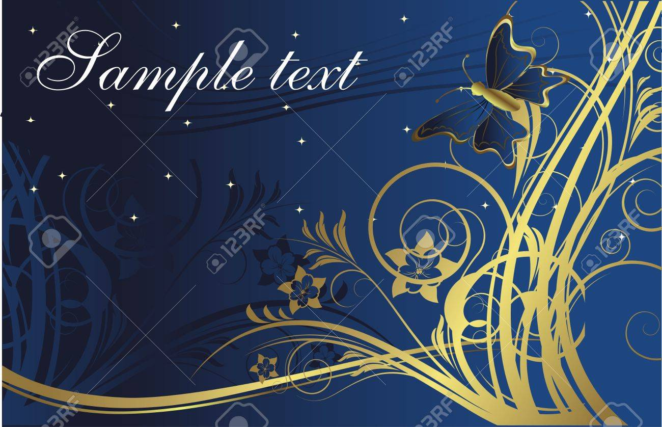 The butterfly against silhouettes of gold plants on a dark blue background with space for the text Stock Vector - 4623975