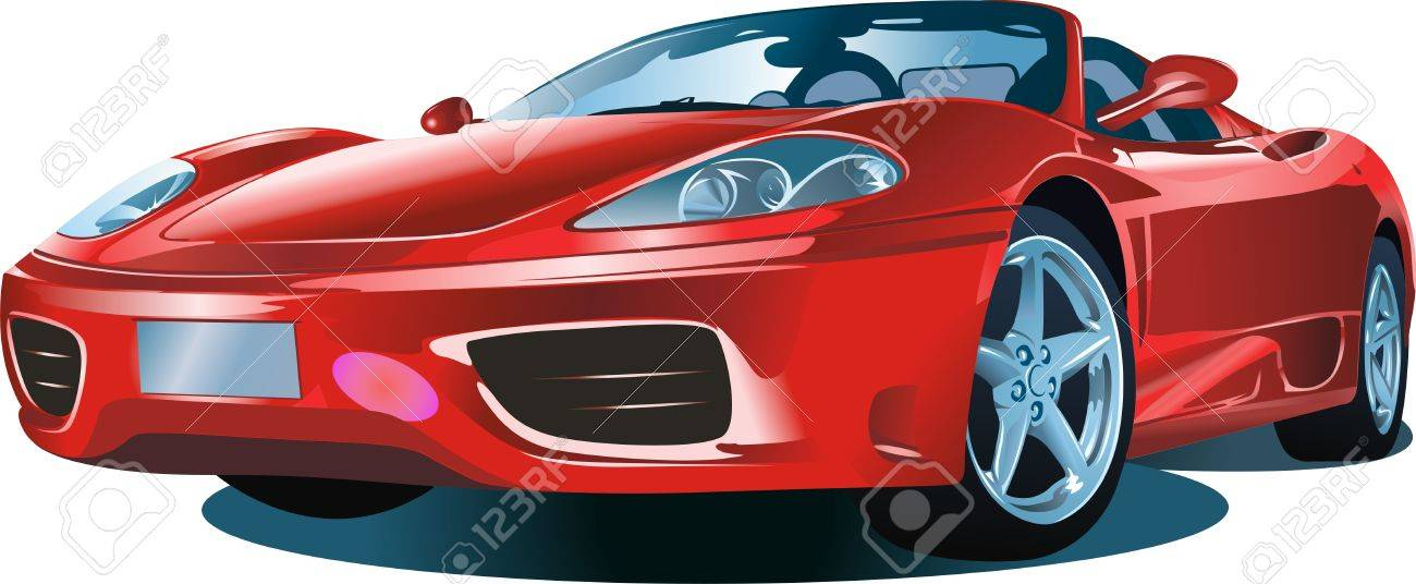 The modern car of red colour on a white background Stock Vector - 5336807