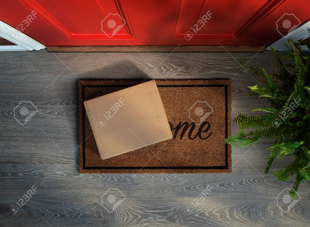 E-commerce purchase delivered to the front door. Overhead view. Add your own label - 128872785