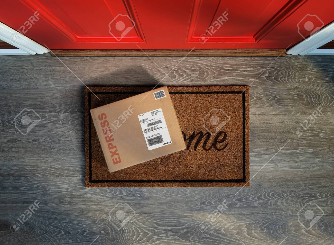 Rush delivery, online purchase outside the front door. Overhead view. - 128872814