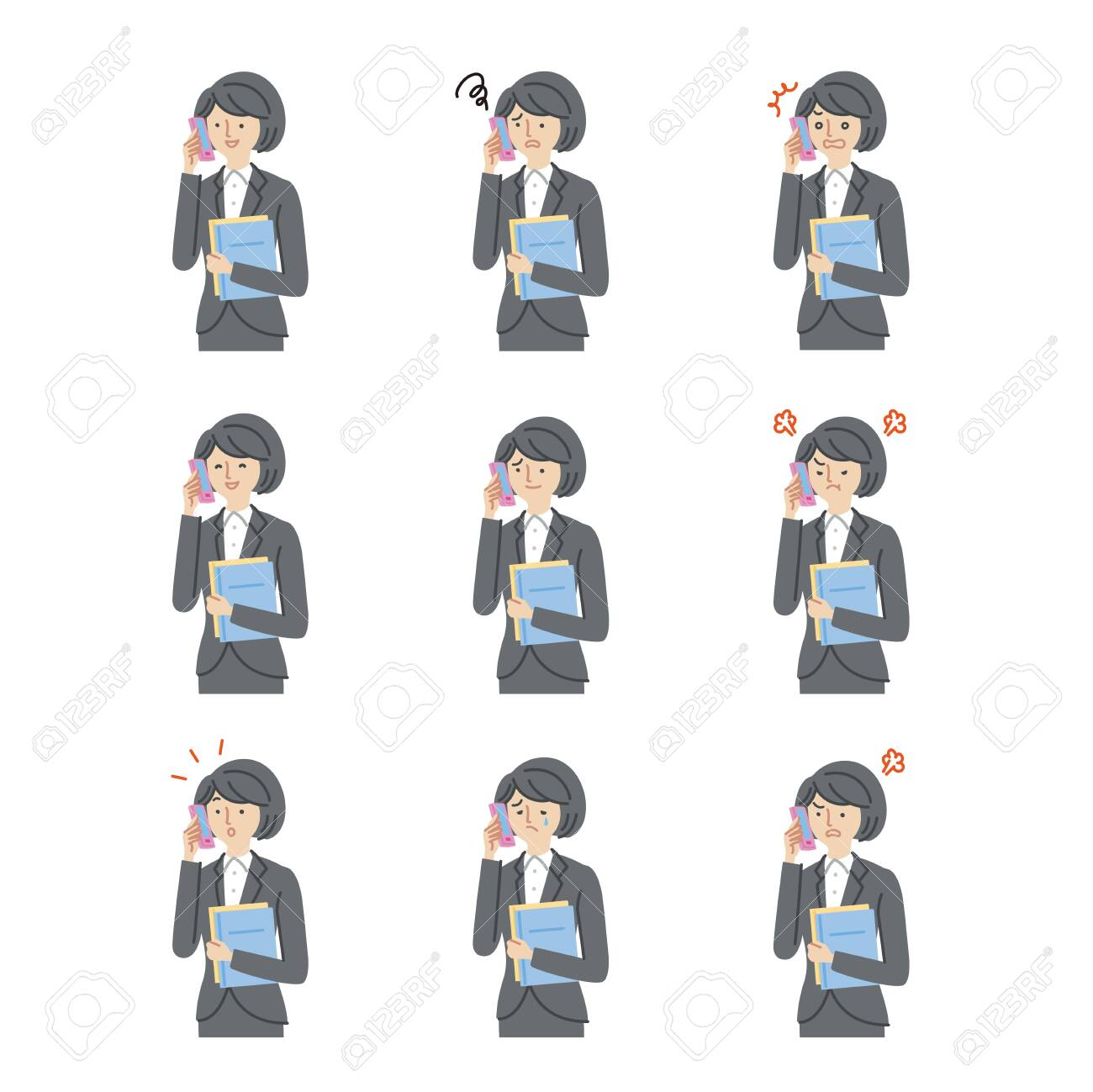 Business: Women, smartphones, facial expressions, variation set(stroke) - 153067830