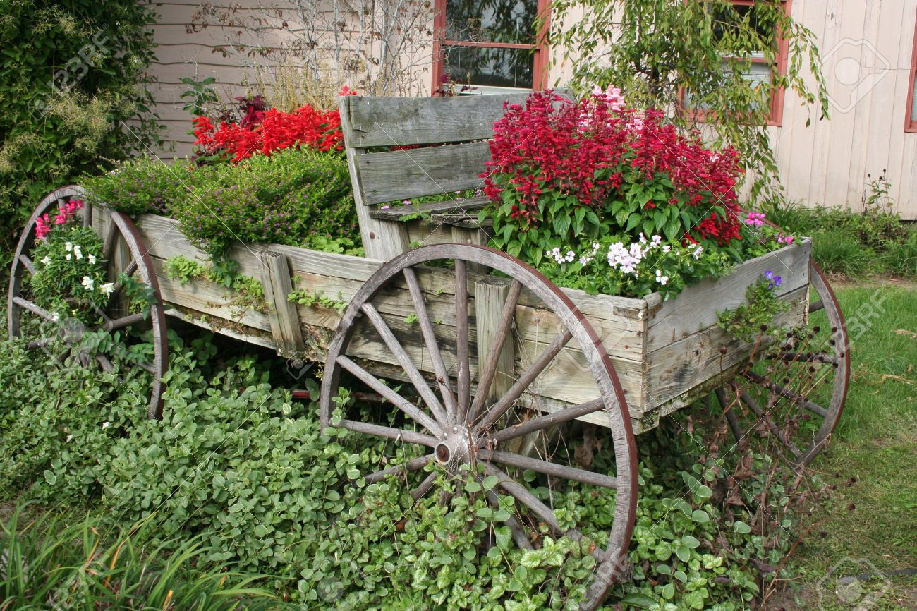 Wagon Flower Garden Stock Photo, Picture And Royalty Free Image ...