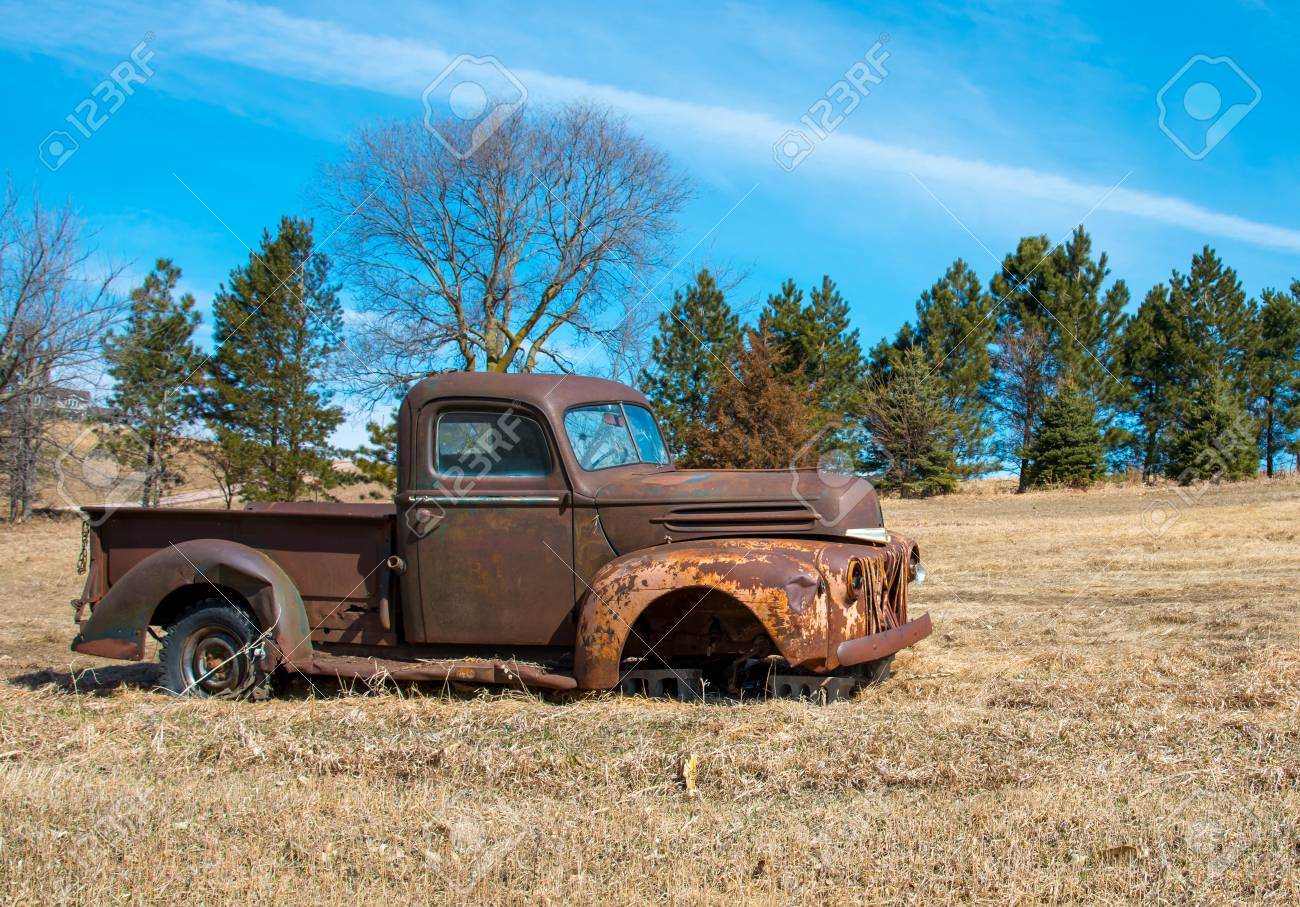 Rusty Old Truck With Bullet Holes In The Windshield Abandoned
