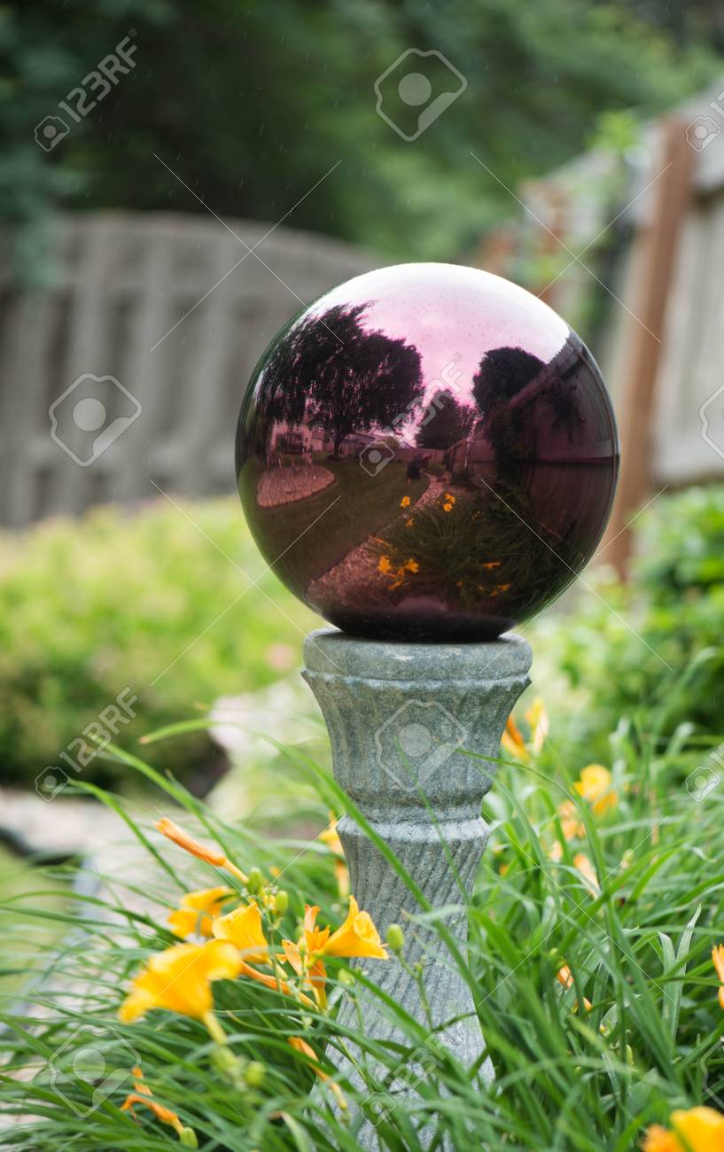 Closeup Of Gazing Ball In The Garden Stock Photo Picture And Royalty Free Image Image 104040397