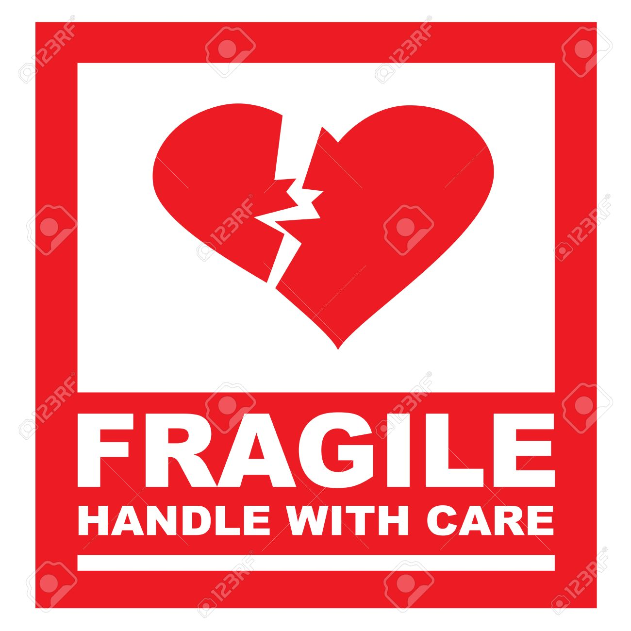 Fragile handle with care sticker the box is replaced by a heart stock