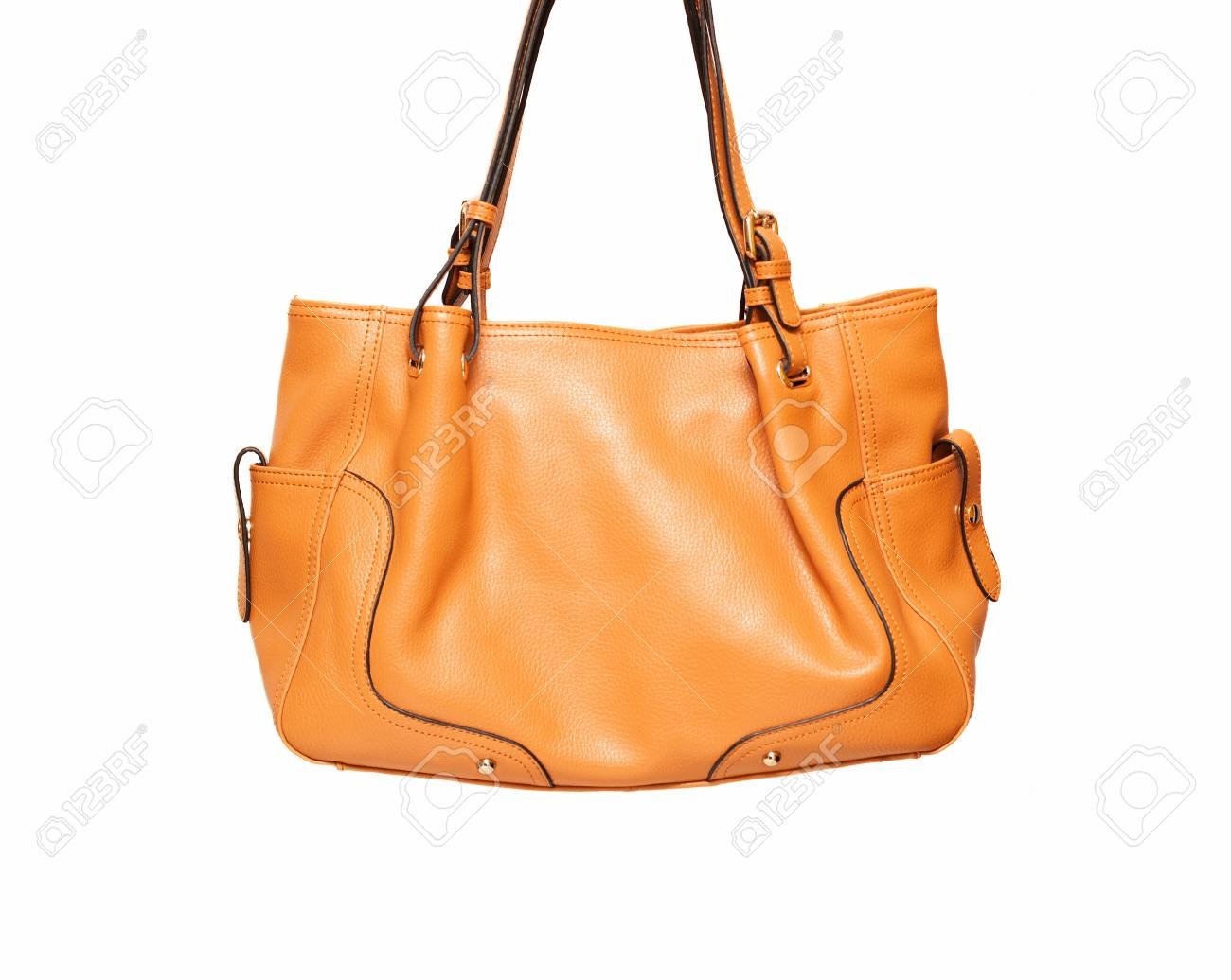 a335352bcf Brown ladies leather handbag isolated on white background Stock Photo -  60471980