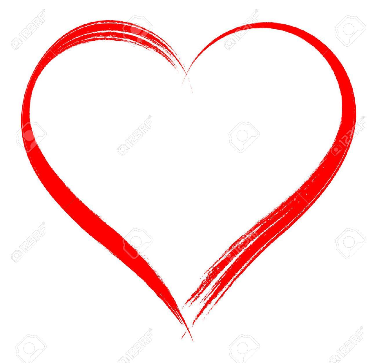 Heart shape frame with brush painting isolated on white background - 69181035