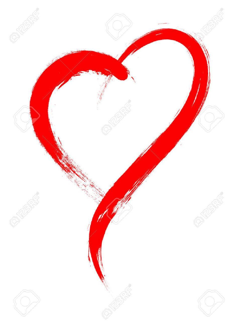 Herz-Form-Rahmen Mit Pinsel Malerei Auf Weißem Hintergrund ...