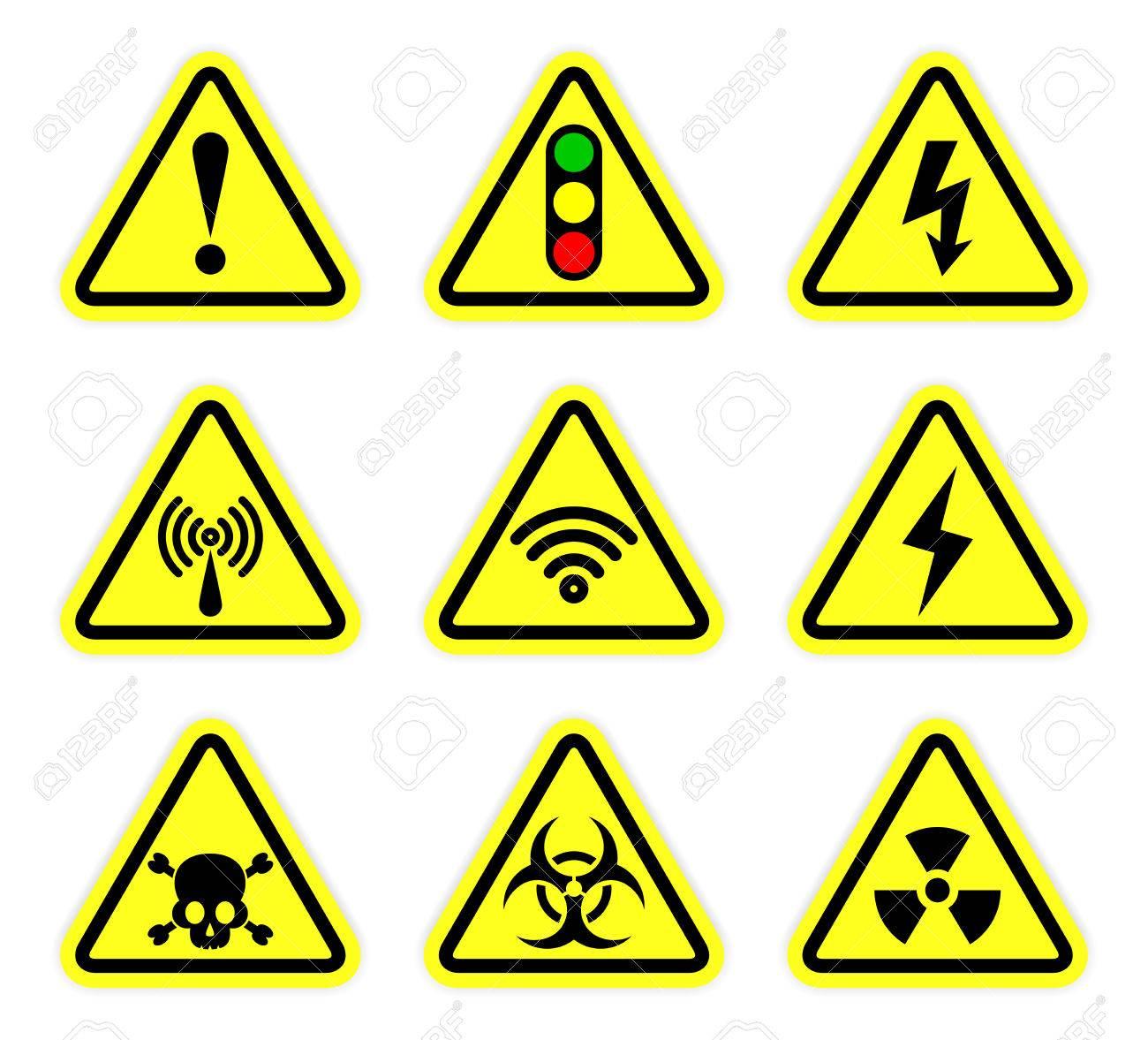 Warning Signal Symbol And Radiation Sign Set Royalty Free Cliparts